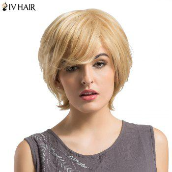 Siv Hair Short Side Bang Fluffy Layered Slightly Curly Human Hair Wig -  LIGHT GOLD