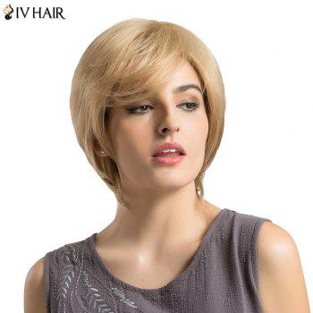 Siv Hair Short Side Bang Fluffy Layered Slightly Curly Human Hair Wig - GOLDEN GOLDEN