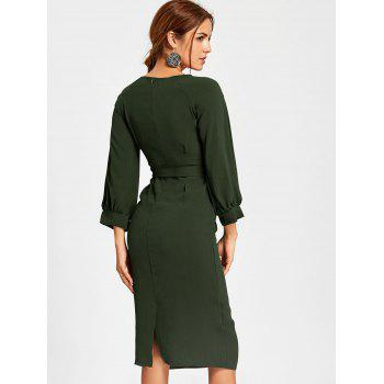 Back Slit Midi Sheath Dress - DEEP GREEN DEEP GREEN