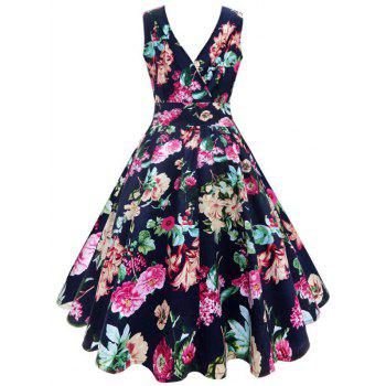 Plus Size Floral Printed Vintage Gown Dress - FLORAL 5XL