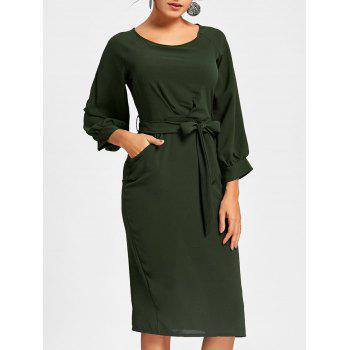 Back Slit Midi Sheath Dress - DEEP GREEN S