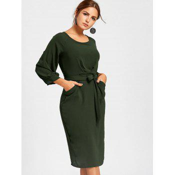 Back Slit Midi Sheath Dress - S S