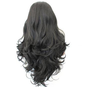 Middle Part Shaggy Long Loose Wave Synthetic Wig - BLACK