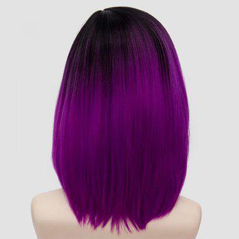 Medium Side Parting Straight Bob Ombre Party Synthetic Wig - BLACK/PURPLE