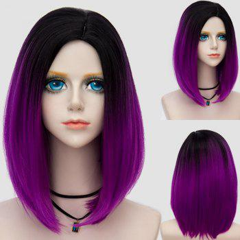 Medium Side Parting Straight Bob Ombre Party Synthetic Wig - BLACK AND PURPLE BLACK/PURPLE