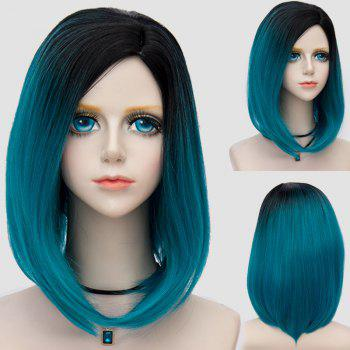 Medium Side Parting Straight Bob Ombre Party Synthetic Wig - BLACK AND GREEN BLACK/GREEN