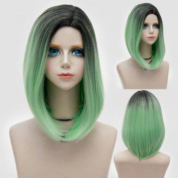 Medium Side Parting Straight Bob Ombre Party Synthetic Wig - GREEN GREEN