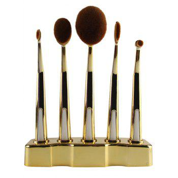 5 Pcs Toothbrush Shape Make-up Brush with Brush Holder - GOLDEN GOLDEN