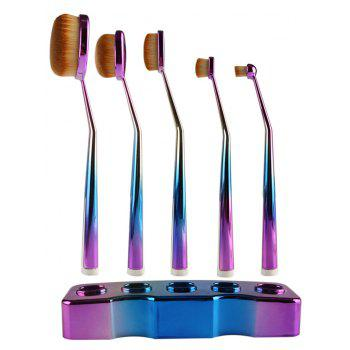 5 Pcs Toothbrush Shape Brushes Set with Holder - BLUE