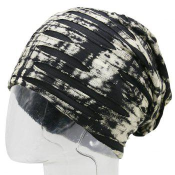 Ink Printed Double-Deck Ripped Beanie - BEIGE