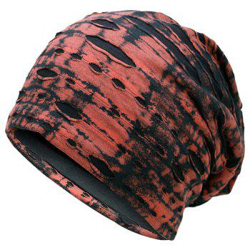 Ink Printed Double-Deck Ripped Beanie - RED RED