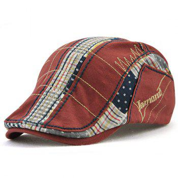 Outdoor Tartan Embroidery Cabbie Hat - WINE RED WINE RED