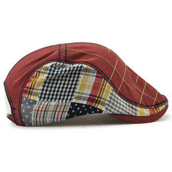 Outdoor Tartan Embroidery Cabbie Hat -  WINE RED