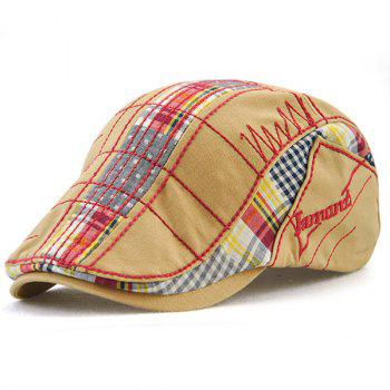 Outdoor Tartan Embroidery Cabbie Hat - BEIGE BEIGE