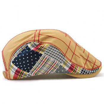 Outdoor Tartan Embroidery Cabbie Hat -  BEIGE