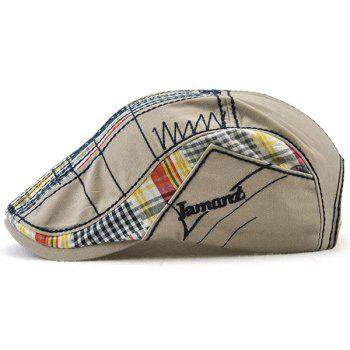 Outdoor Tartan Embroidery Cabbie Hat -  GRAY