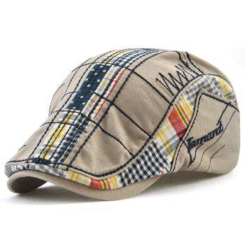 Outdoor Tartan Embroidery Cabbie Hat - GRAY GRAY