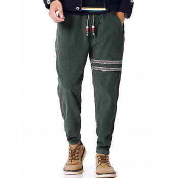 Tribal Stripe Drawstring Waist Corduroy Pants - ARMY GREEN ARMY GREEN