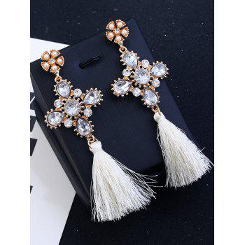 Rhinestone Floral Cross Tassel Earrings - WHITE WHITE