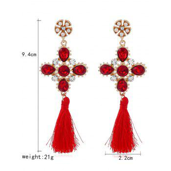 Rhinestone Floral Cross Tassel Earrings - RED
