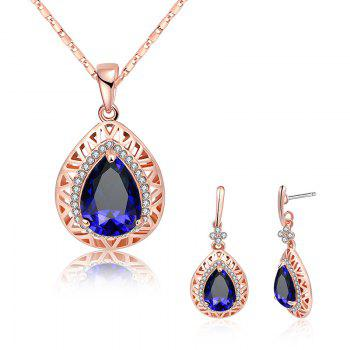 Faux Gemstone Rhinestoned Teardrop Jewelry Set - BLUE BLUE