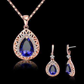 Faux Gemstone Rhinestoned Teardrop Jewelry Set -  BLUE