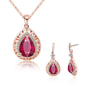 Faux Gemstone Rhinestoned Teardrop Jewelry Set - ROSE RED ROSE RED