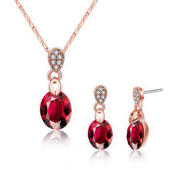 Rhinestone Necklace with Earring Set - RED RED
