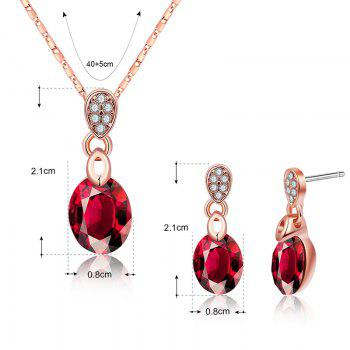Rhinestone Necklace with Earring Set - RED