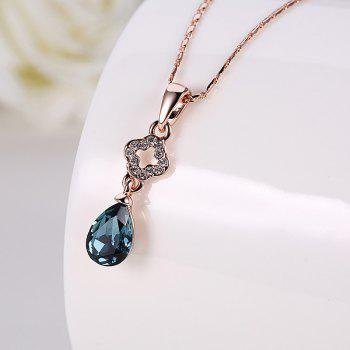 Artificial Sapphire Clover Teardrop Jewelry Set - BLUE