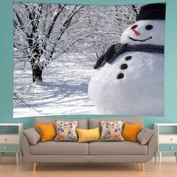 Snowman Forest Print Tapestry Wall Hanging Art - Blanc W91 INCH * L71 INCH