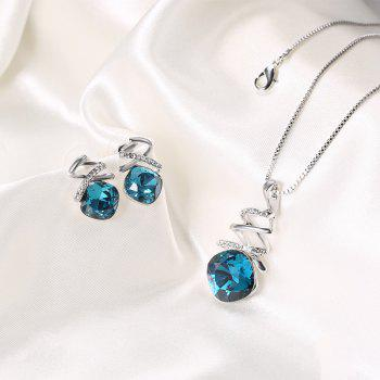 Fake Crystal Rhinestone Charm Jewelry Set - BLUE