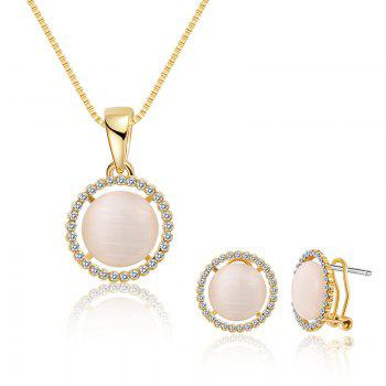 Faux Opal Rhinestoned Round Jewelry Set - GOLDEN GOLDEN