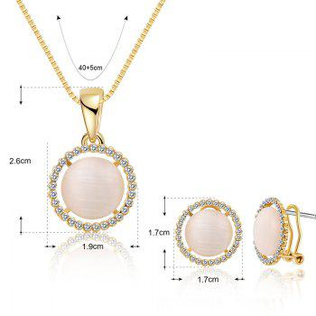 Faux Opal Rhinestoned Round Jewelry Set - GOLDEN