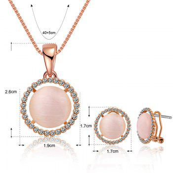 Faux Opal Rhinestoned Round Jewelry Set -  ROSE GOLD