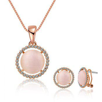 Faux Opal Rhinestoned Round Jewelry Set - ROSE GOLD ROSE GOLD