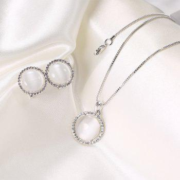 Faux Opal Rhinestoned Round Jewelry Set - Argent