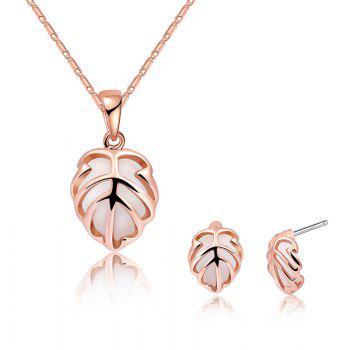 Artificial Opal Leaf Necklace and Earring Set - ROSE GOLD ROSE GOLD