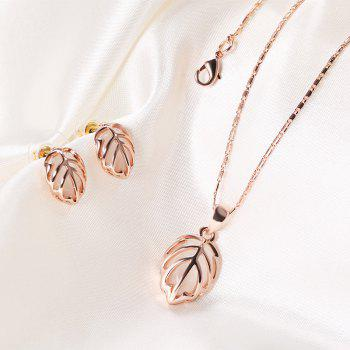 Artificial Opal Leaf Necklace and Earring Set - ROSE GOLD