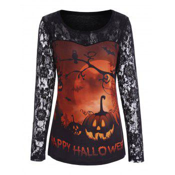 Pumpkin Happy Halloween Lace Sleeve Top