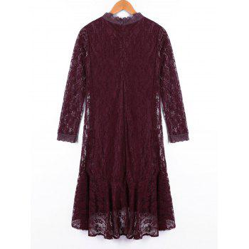 Crew Neck Long Sleeve Lace Dress - DARK RED DARK RED