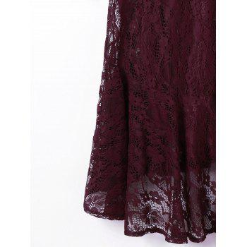 Crew Neck Long Sleeve Lace Dress - DARK RED L