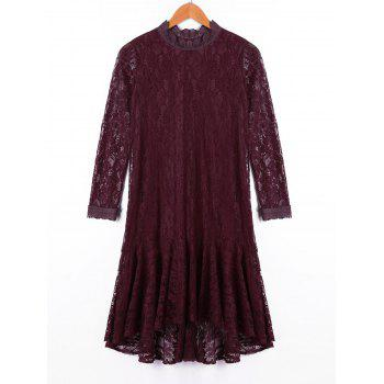 Crew Neck Long Sleeve Lace Dress - DARK RED XL