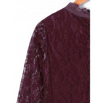 Crew Neck Long Sleeve Lace Dress - DARK RED 2XL