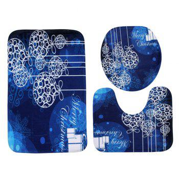 Christmas Baubles Pattern 3 Pcs Bathroom Toilet Mat - BLUE