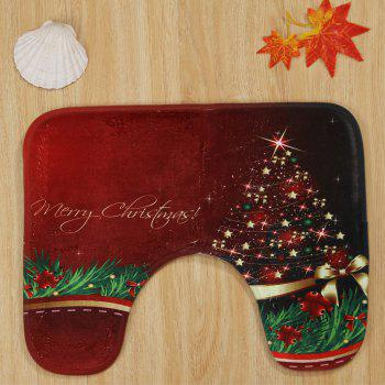Merry Christmas Star Pattern 3 Pcs Bathroom Toilet Mat - RED