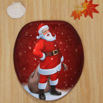 Christmas Santa Claus Pattern 3 Pcs Bathroom Toilet Mat - RED