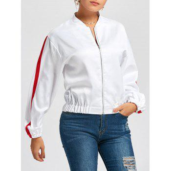 Zipper Fly Striped Bomber Jacket - WHITE M