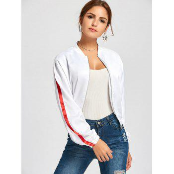 Zipper Fly Striped Bomber Jacket - M M