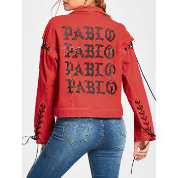 Lace Up Letter Print Jacket - RED S